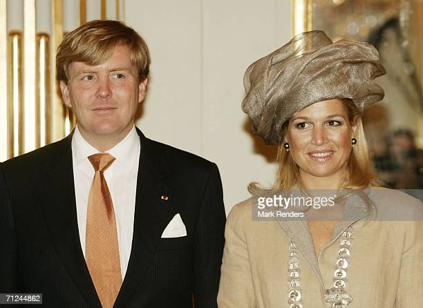 Dutch Crown Prince Willem Alexander and Princess Maxima pose for a photo at the Royal Palace during a 3day visit on June 20 2006 in Belgium Brussels