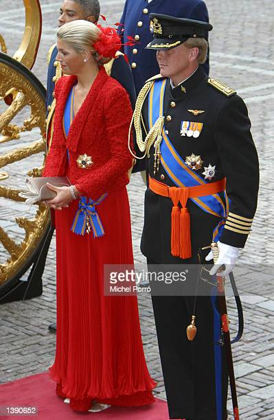 Dutch Crown Prince Willem Alexander and Princess Maxima wait before entering the government budget presentation ceremony during Prince's Day...