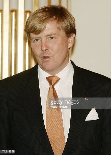 Dutch Crown Prince Willem Alexander poses for a photo at the Royal Palace during a 3day visit on June 20 2006 in Belgium Brussels