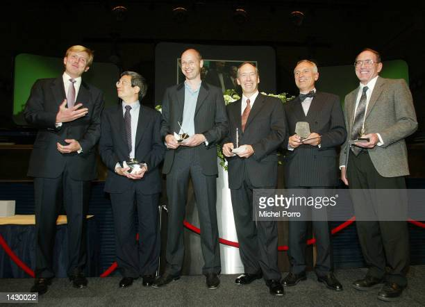 Dutch Crown Prince Willem Alexander stands with this year's winners of the Heineken Prizes Professor Roger Tsien of the University of California in...