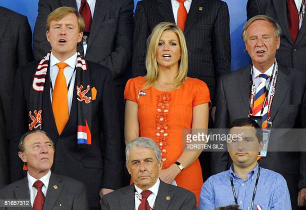 Dutch Crown Prince WillemAlexander and his wife Princess Maxima sing the national anthem in the stands a few moments before the Euro 2008...