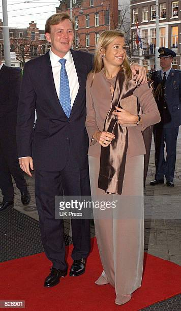 Dutch Crown Prince Willem-Alexander and Maxima Zorreguieta arrive for a luncheon concert at Concertgebouw a day before their wedding February 1, 2002...