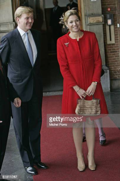 Dutch Crown Prince Willem-Alexander and Princess Maxima pose for a photo after Maxima had taken seat for the first time in the 'Raad van State', the...