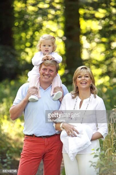 Dutch Crown Prince Willem-Alexander, his wife Princess Maxima, their daughters Princess Amalia and Princess Alexia pose for a photocall at their home...