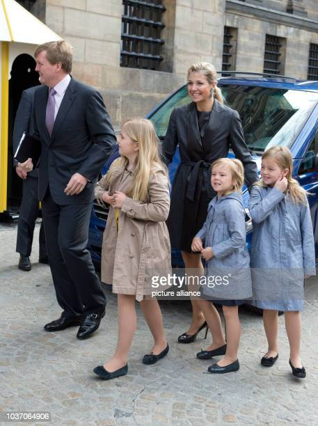 Dutch Crown Prince Willem-Alexander, Princess Maxima , Princess Amalia , Princess Alexia and Princess Ariane arrive for a rehearsal for the upcoming...