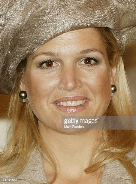 Dutch Crown Princess Maxima poses for a photo at the Royal Palace during a 3day visit on June 20 2006 in Belgium Brussels