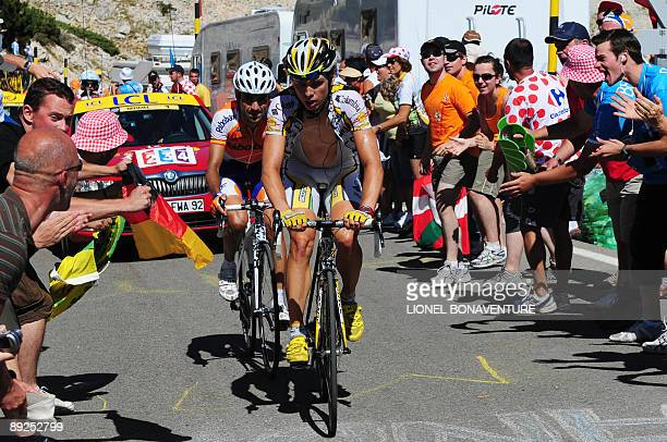 Dutch cycling team Rabobank 's Juan Manuel Garate of Spain rides with US cycling Team ColumbiaHigh Road 's Tony Martin of Germany on July 25 2009 at...
