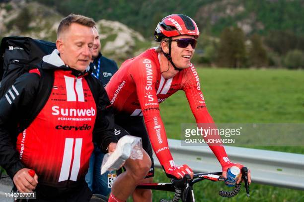 Dutch cyclist Cees Bol of team Sunweb wins the first stage of Tour of Norway cycling race between Stavanger and Egersund in Norway on May 28 2019 /...