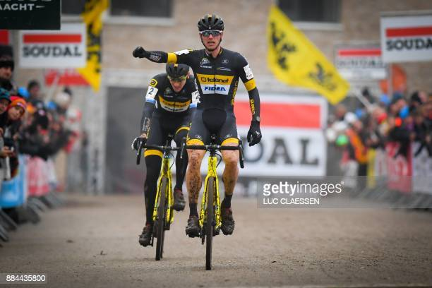 Dutch cyclist Corne Van Kessel wins ahead of Belgian cyclist Toon Aerts on the finish line of the men elite race of the GP Hasselt stage 3 in the...