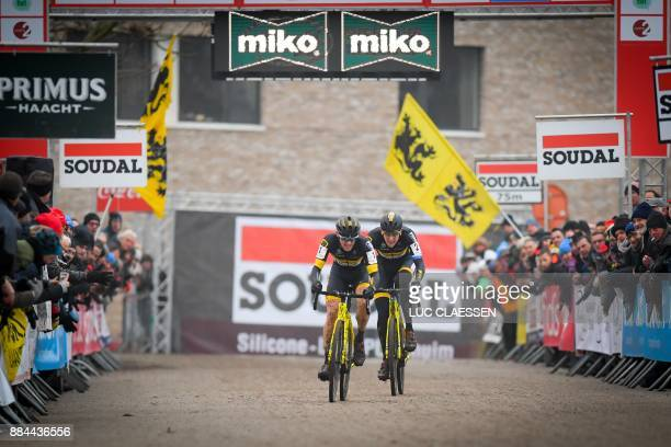 Dutch cyclist Corne Van Kessel wins ahead of Belgian cyclist Toon Aerts the men elite race of the GP Hasselt stage 3 in the Soudal Classics...