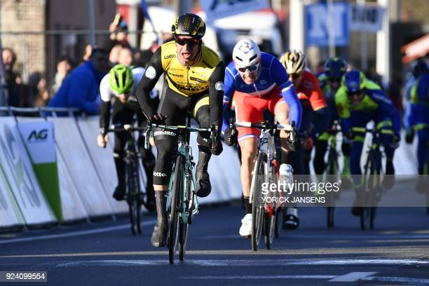 Dutch cyclist Dylan Groenewegen of Team LottoNLJumbo celebrates his victory in a final sprint during the 70th edition of the KuurneBrusselsKuurne one...