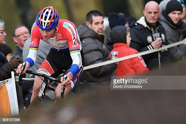 Dutch cyclist Mathieu Van Der Poel comptetes during the 'Vlaamse Druivencross cyclocross Overijse' cycling race in Overijse on December 11 2016 / AFP...