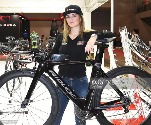 Dutch cyclist Puck Moonen of Lotto Soudal Ladies attends the Cycle Mode International at Makuhari Messe on November 5 2017 in Chiba Japan