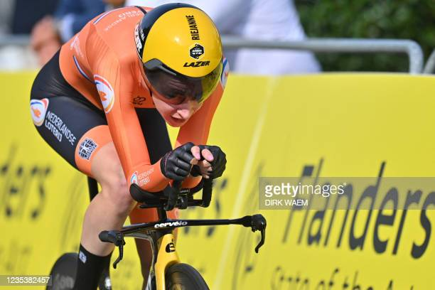 Dutch cyclist Riejanne Markus competes in the women elite individual time trial race 3 km from Knokke-Heist to Brugge, at the UCI World Championships...