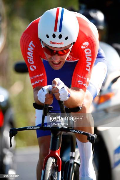 Dutch cyclist Tom Dumoulin from Team Sunweb competes during the 10th stage from Foligno to Montefalco of 100th Giro d'Italia Tour of Italy on May 16...