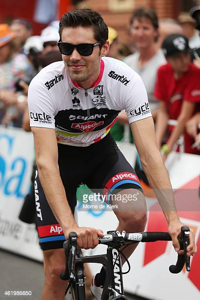 Dutch cyclist Tom Dumoulin of Team Giant Alpecin prepares before the start of Stage 4 of the 2015 Santos Tour Down Under on January 23 2015 in...