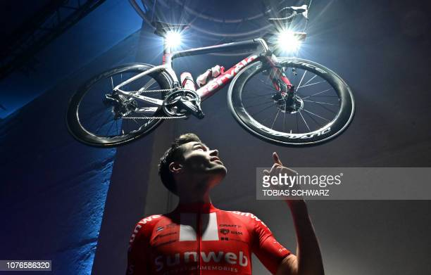 TOPSHOT Dutch cyclist Tom Dumoulin poses for photographers during the 2019 Sunweb cycling team's official presentation on January 3 2019
