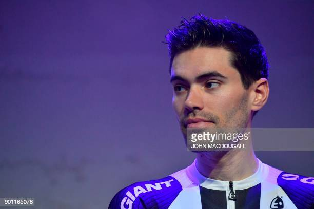 Dutch cyclist Tom Dumoulin takes part in the 2018 Sunweb cycling team's official presentation on January 4 2018 in Berlin / AFP PHOTO / John...