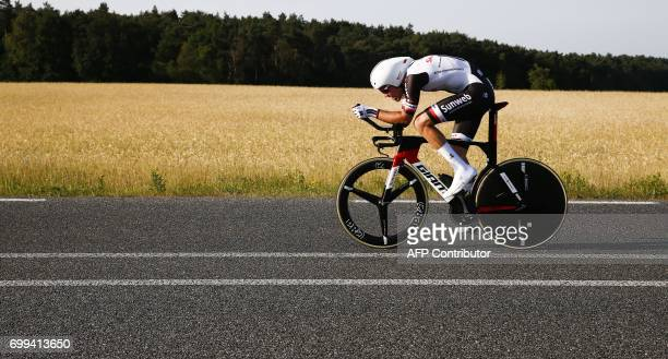 TOPSHOT Dutch cyclist Tom Dumoulin takes part in the Dutch championship cyclocross in 'sHeerenberg on June 21 2017 / AFP PHOTO / ANP / Vincent...