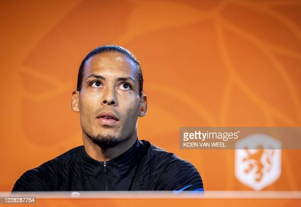 Dutch defender Virgil van Dijk attends a press conference in Zeist, the Netherlands, on August 31 as the team prepares for the UEFA Nations League...