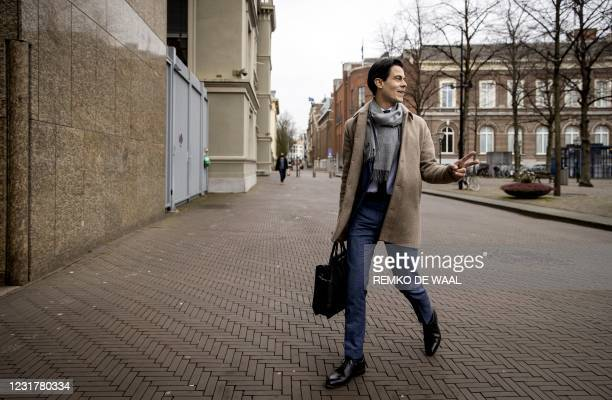 Dutch Democrats 66 politician Rob Jetten arrives prior to a meeting of D66 in the Thorbeckezaal in The Hague, on March 18 the day after the...