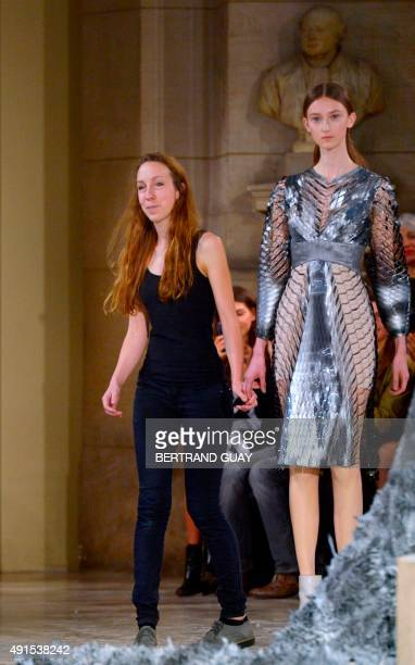 Dutch designer Iris Van Herpen acknowledges the audience at the end of the 2016 Spring/Summer readytowear collection fashion show on October 6 2015...