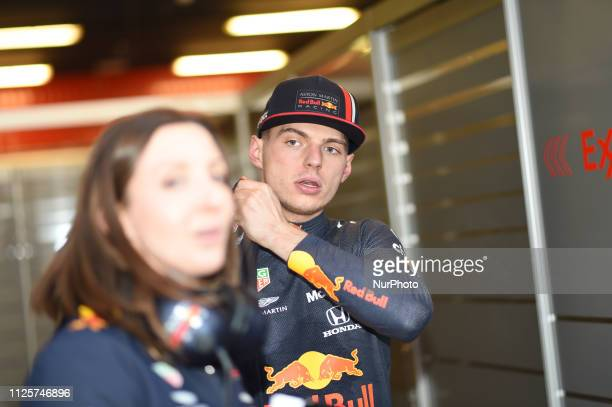 Dutch driver Max Verstappen of Austrian Anglo team Aston Martin Red Bull Racing speak with press after first day of Barcelona winter test in...