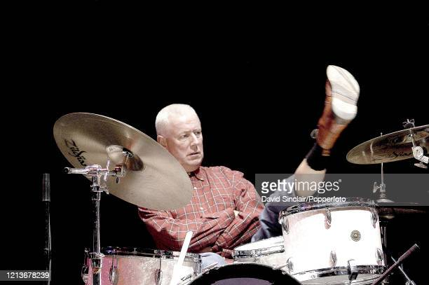 Dutch drummer Han Bennink performs live on stage at Queen Elizabeth Hall in London on 23rd January 2003