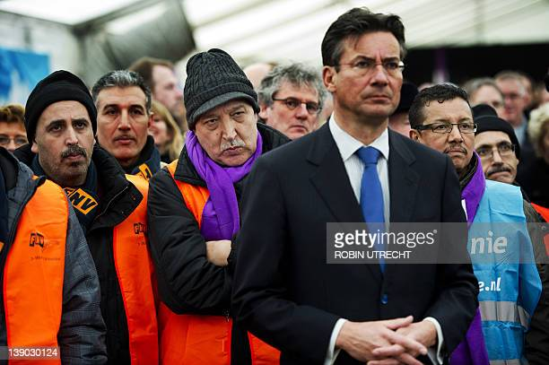Dutch Economic Affairs Agriculture and Innovation Minister of Maxime Verhagen joins on February 15 2012 a protest of workers from Mitsubishi's sole...
