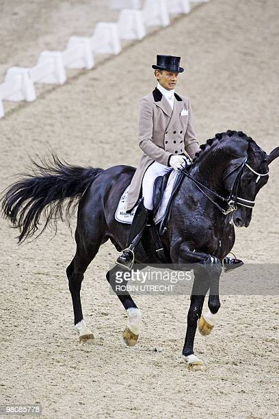 Dutch Edward Gal rides Moorlands Totilas during the finals of the World Cup Dressage in Den Bosch The Netherlands on March 27 2010 Gal was the winner...