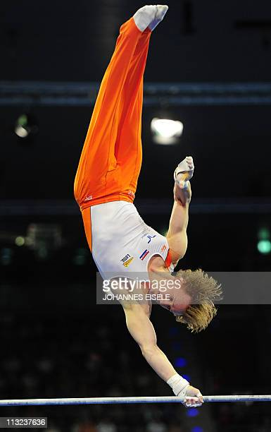 Dutch Epke Zonderland performs to win in the men's apparatus finals on the horizontal bar during the 4th European Artistic Gymnastics Championships...