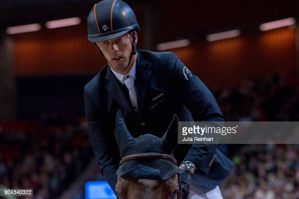 Dutch equestrian Harrie Smolders on Monaco rides in the Accumulator Show Jumping Competition during the Gothenburg Horse Show in Scandinavium Arena...