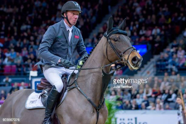 Dutch equestrian Jur Vrieling on Quality FZ rides in in the qualifying competition for the Gothenburg Grand Prix during the Gothenburg Horse Show in...