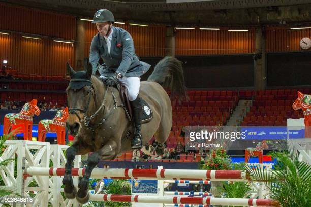 Dutch equestrian Jur Vrieling on Zypern III rides in the ATG Race Against the Clock competition during the Gothenburg Horse Show in Scandinavium...