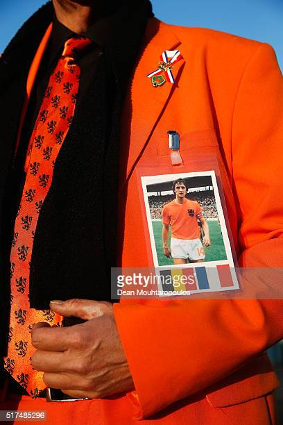 Dutch fan displays a picture of Johan Cruyff of Netherlands prior to the International Friendly match between Netherlands and France at Amsterdam...