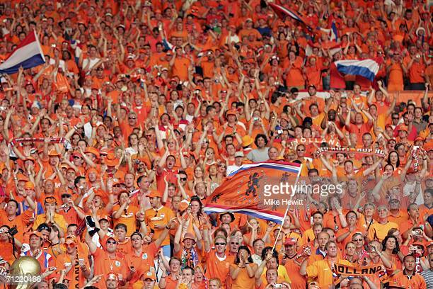 Dutch fans celebrate their team's 21 victory during the FIFA World Cup Germany 2006 Group C match between Netherlands and Ivory Coast at the...