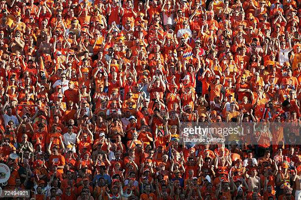Dutch fans cheer on their team during the UEFA Euro 2004, Quarter Final match between Sweden and Holland at the Algarve Stadium on June 26, 2004 in...