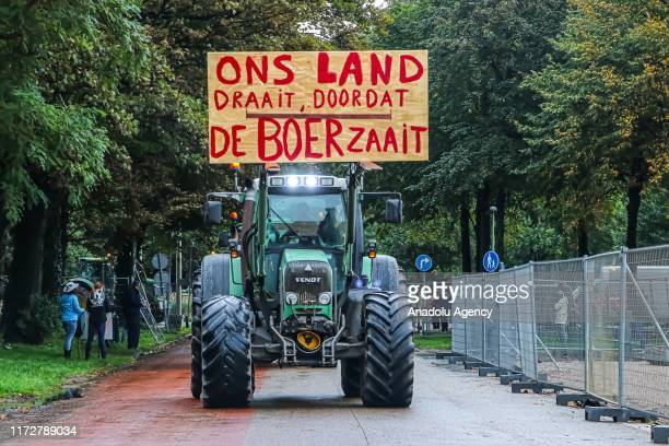 Dutch farmers protest against goverment's agriculture policy with their tractors during a national protest at the Malieveld in The Hague, The...