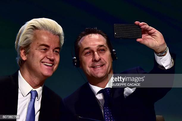 Dutch farright Freedom Party leader Geert Wilders takes a selfie with Heinz Christian Strache of the Freiheitliche Partei Osterreichs during a press...