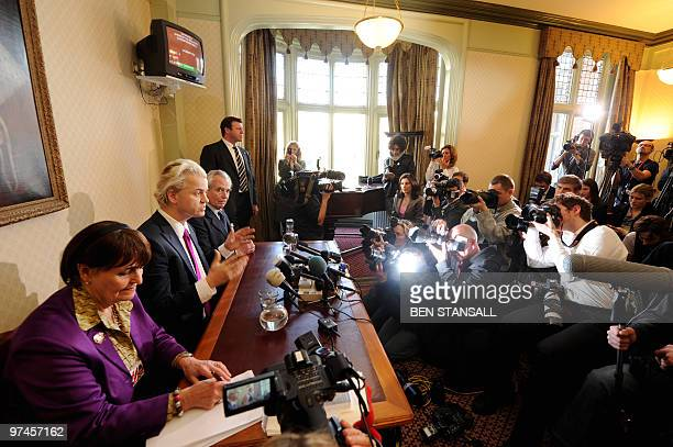 Dutch far-right lawmaker Geert Wilders, Baroness Cox and UK Independence Party Leader Lord Pearson address a press conference in London, on March 5,...