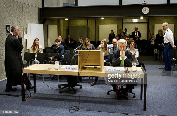 Dutch farright leader Geert Wilders on trial for inciting racial hatred and antiMuslim discrimination sits on March 14 2011 in court in Amsterdam His...