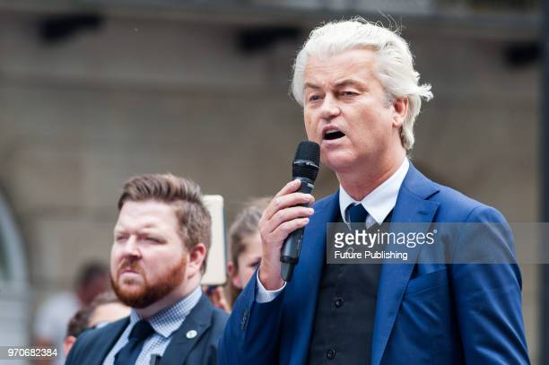 Dutch farright opposition leader Geert Wilders addresses thousands of supporters of farright activist and former English Defence League leader Tommy...
