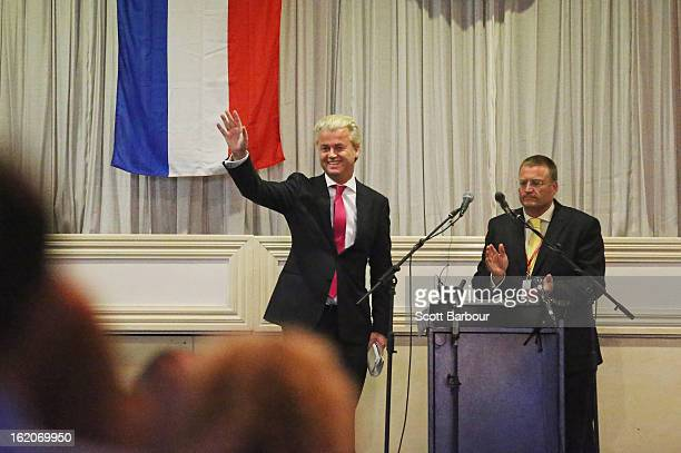 Dutch farright politician and the founder and leader of the Party for Freedom Geert Wilders waves as he arrives to speak to members of the public on...