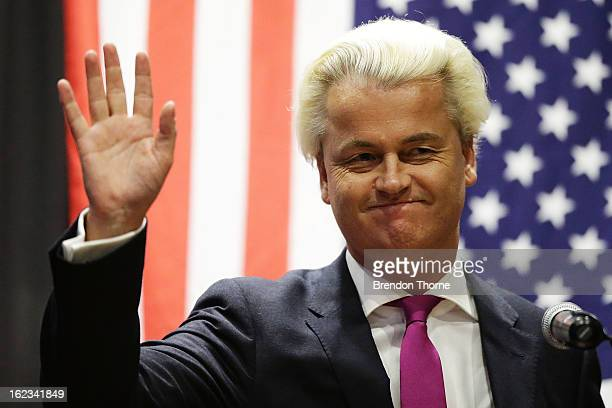 Dutch farright politician and the founder and leader of the Party for Freedom Geert Wilders speaks to members of the public on February 22 2013 in...