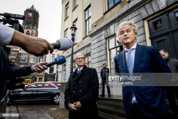 Dutch farright PVV party leader Geert Wilders delivers a statement in Utrecht on December 8 2017 after announcing that his party will take part in...