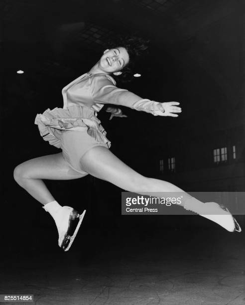 Dutch figure skater Joan Haanappel trains for the International Skating Competition for the Richmond Trophy at the Richmond Ice Rink in London 29th...