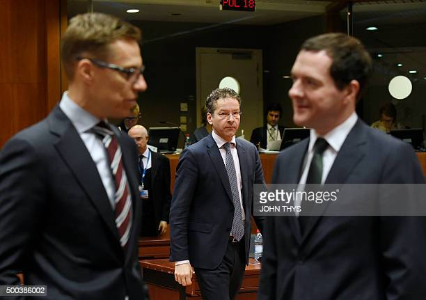 Dutch Finance Minister and Eurogroup president Jeroen Dijsselbloem attends an Economic and Financial Affairs meeting at the EU Headquarters in...