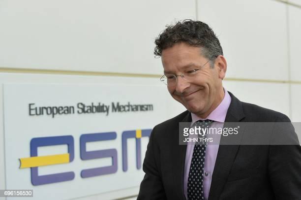 Dutch Finance Minister and president of Eurogroup Jeroen Dijsselbloem arrives before an European Stability Mechanism meeting in Luxembourg on June 15...