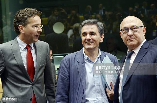 Dutch Finance Minister and president of the Eurogroup Jeroen Dijsselbloem newly appointed Greek Finance Minister Euclid Tsakalotos and French Economy...