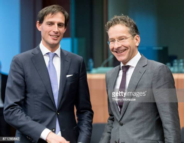 Dutch finance Minister Wopke Bastiaan Hoekstra is talking with the President of the Council Jeroen Dijsselbloem during an Eurozone Ministers meeting...